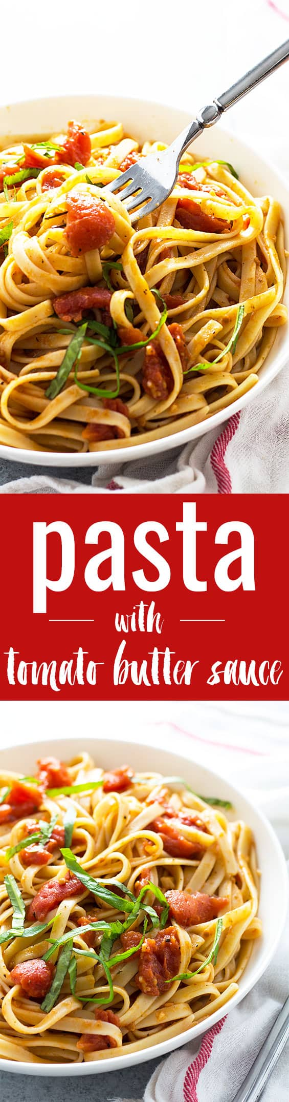 Pasta with Tomato Butter Sauce - A hearty #vegetarian pasta dish that comes together in under 30 minutes!