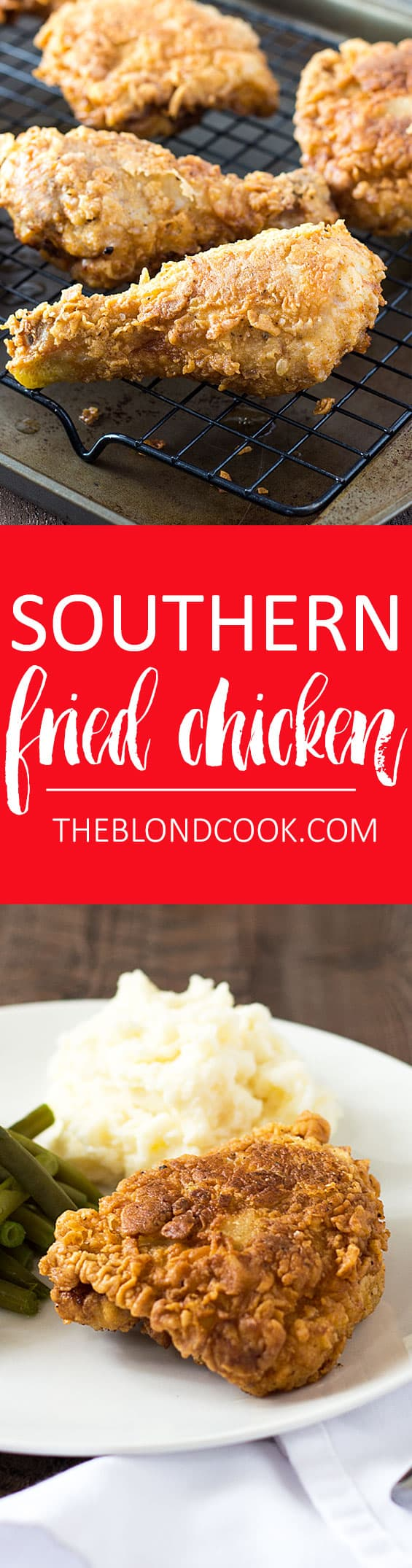 Two images of fried chicken.  Text in center says southern fried chicken.