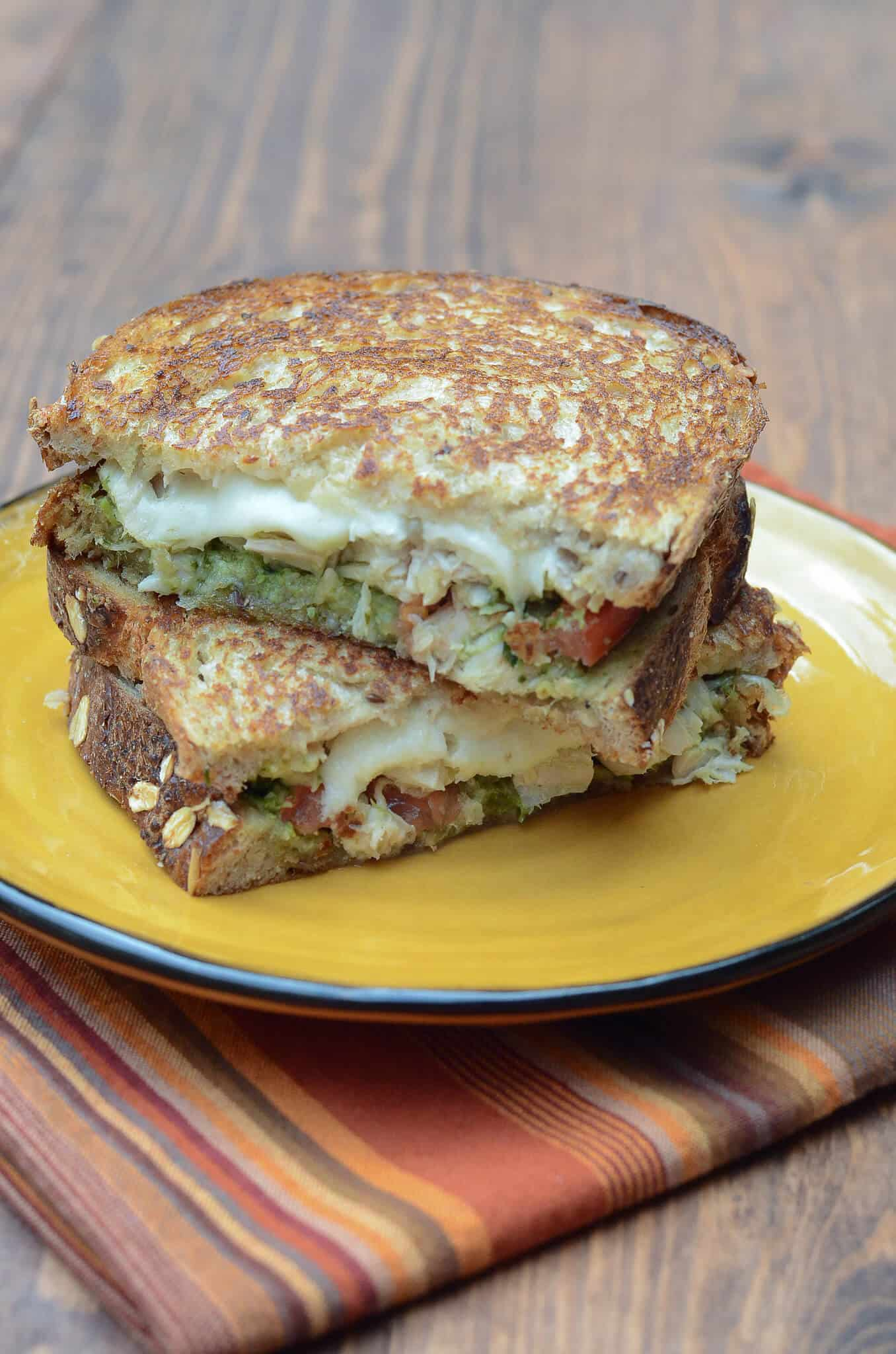 Turkey Pesto Grilled Cheese Sandwiches - Leftover Turkey Recipes