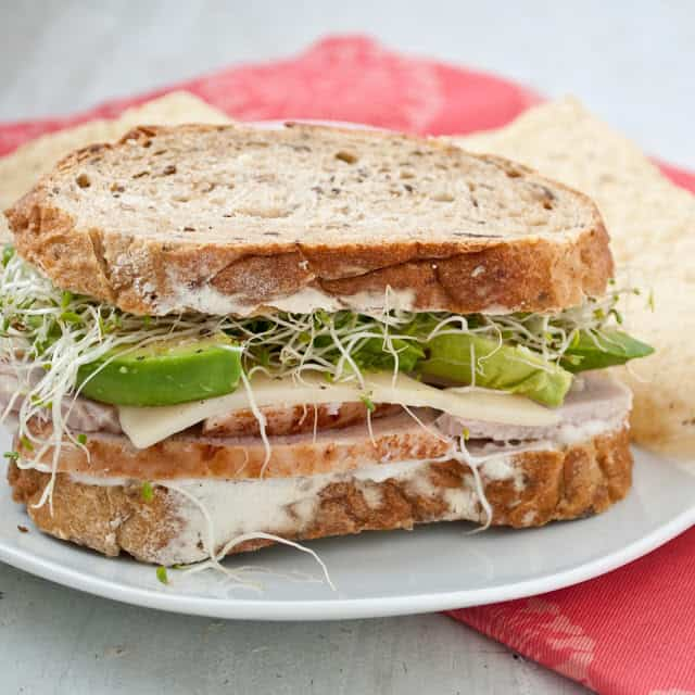 Turkey, Avocado and Sprout Sandwich - Leftover Turkey Recipes