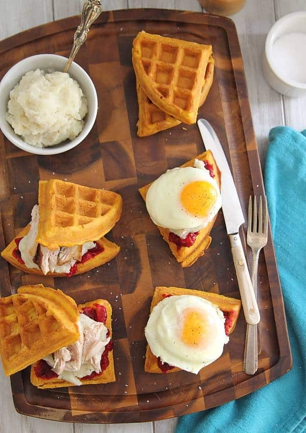 Thanksgiving Leftover Pumpkin Waffle Breakfast Sandwiches - Leftover Turkey Recipes