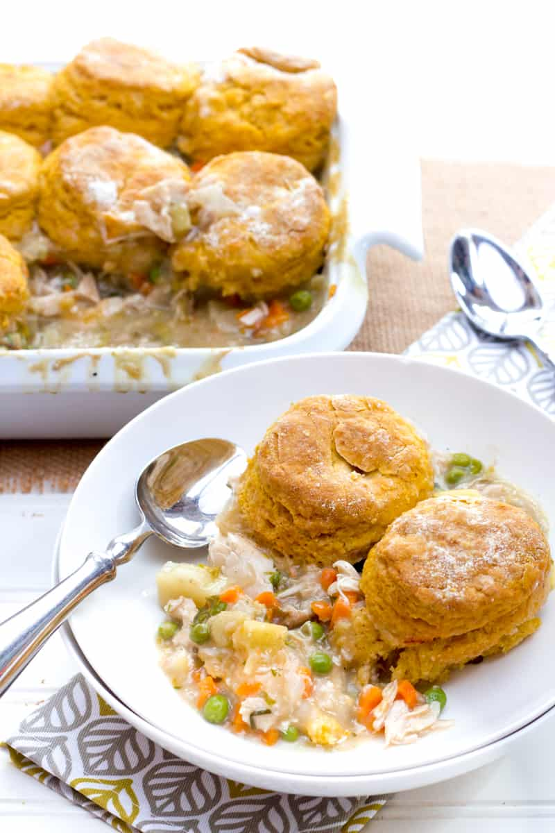 Turkey Pot Pie with Sweet Potato Biscuits - Leftover Turkey Recipes