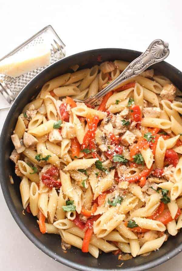 Leftover Turkey Pasta Skillet - Leftover Turkey Recipes