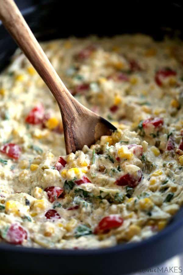 Slow Cooker Salsa Verde Corn Dip | Melanie Makes