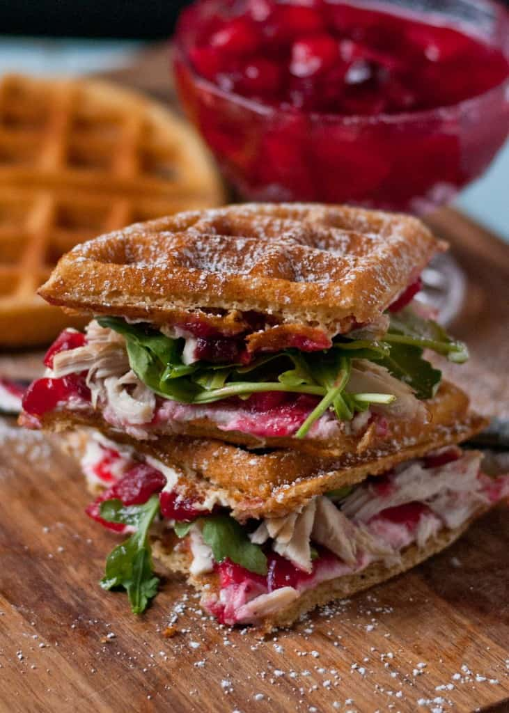 Waffled Cranberry Cream Cheese Turkey Sandwiches - Leftover Turkey Recipes