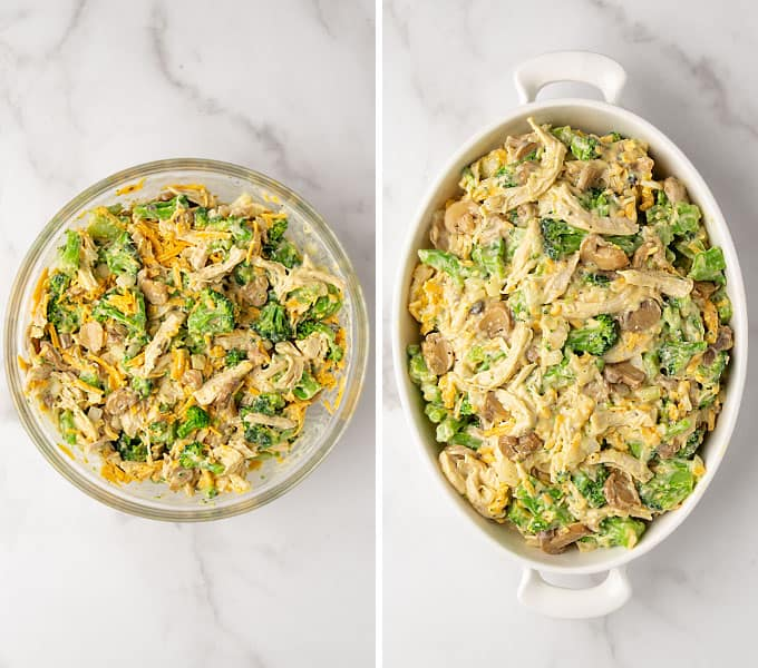 2 images: First is a bowl of chicken mixture for casserole in a bowl, second is mixture in a baking dish.