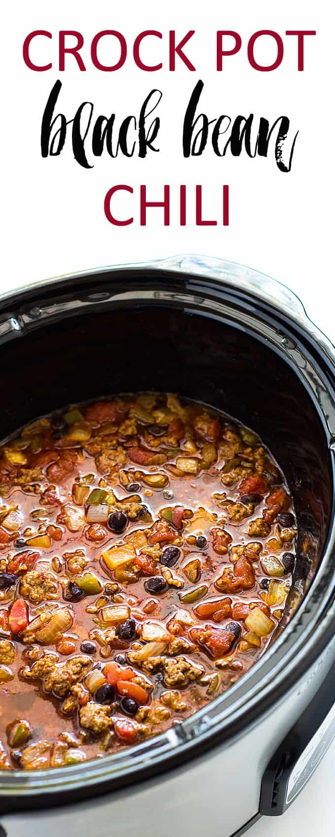 A closeup view of black bean chili with ground beef in an oval slow cooker.