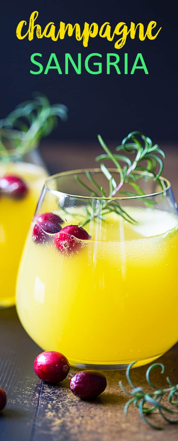 Champagne Sangria - A sweet, savory and tart sangria with rosemary simple syrup.