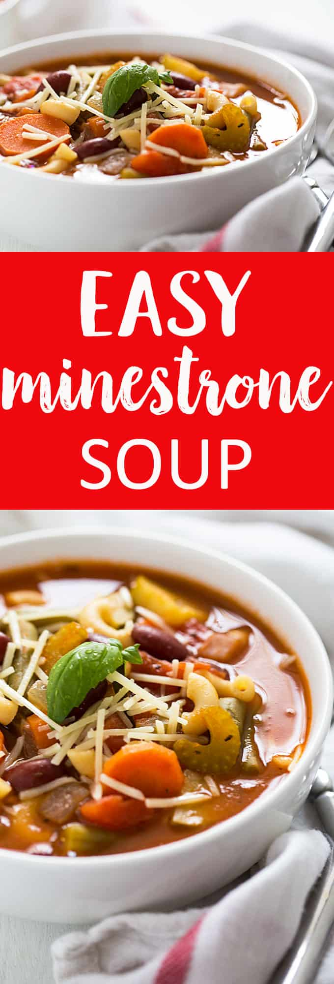 Easy Minestrone Soup chock full of veggies that comes together in just 40 minutes!