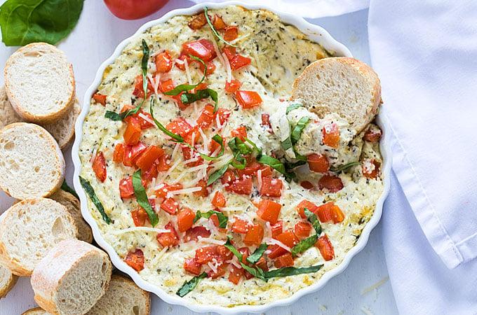 Hot Cheesy Caprese Dip | theblondcook.com