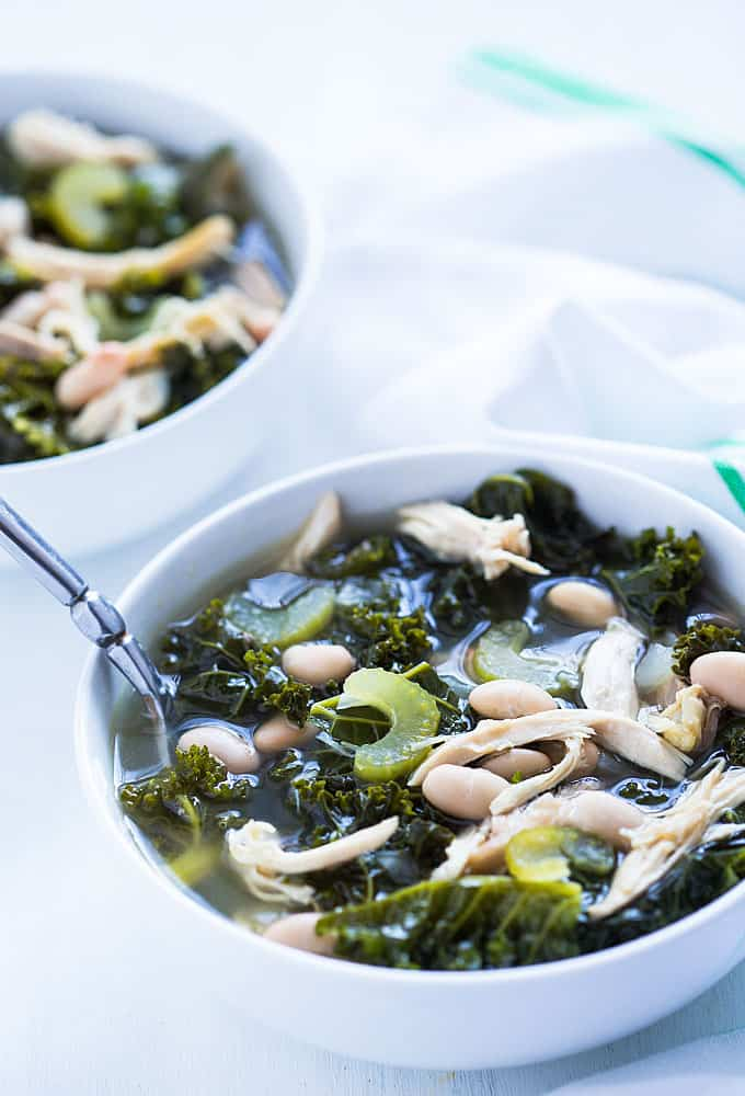 Kale, Chicken and White Bean Soup - A healthy and comforting cold weather soup!