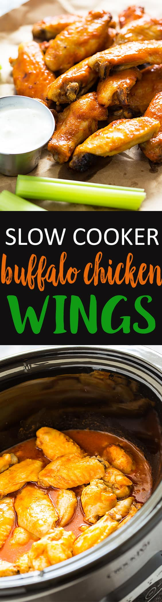 Slow Cooker Buffalo Chicken Wings - Perfectly seasoned and tender buffalo wings prepared in your slow cooker, then baked for a perfectly crisp crust full of flavor!