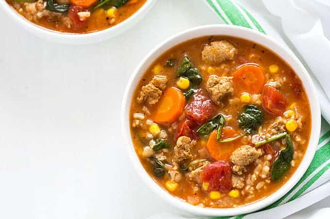 Turkey Sausage Soup with Rice and Veggies – Less than 300 calories per serving. So hearty and comforting!