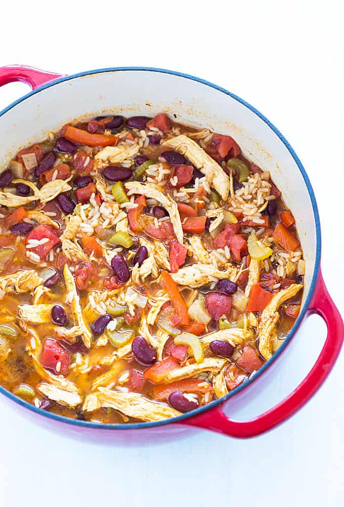Cajun Chicken Stew - An easy, comforting and hearty stew that comes together in 35 minutes!