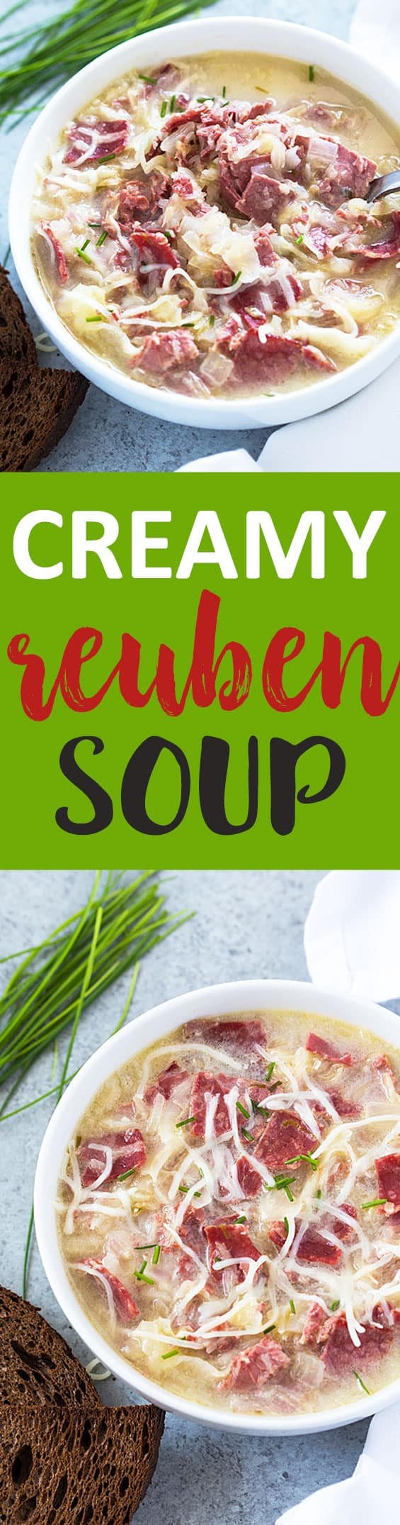 Two images of a bowl of soup.  Text in center says creamy Reuben soup.