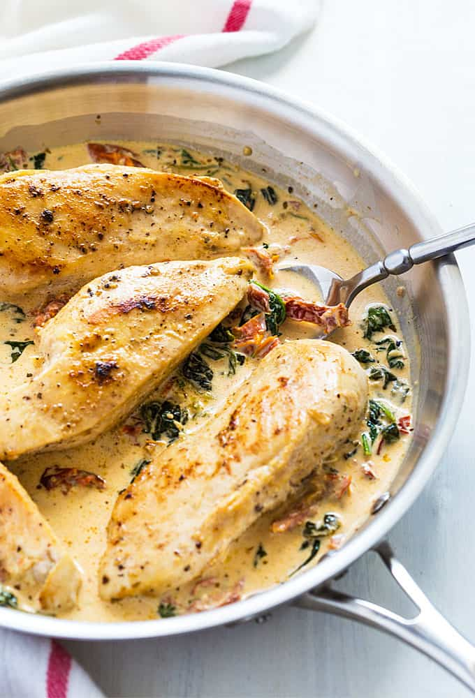 Chicken in a Sun Dried Tomato Cream Sauce with Spinach – Juicy boneless chicken breasts in a simple and satisfying cream sauce!