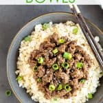 Overhead view of Korean beef and rice bowl with overlay text.