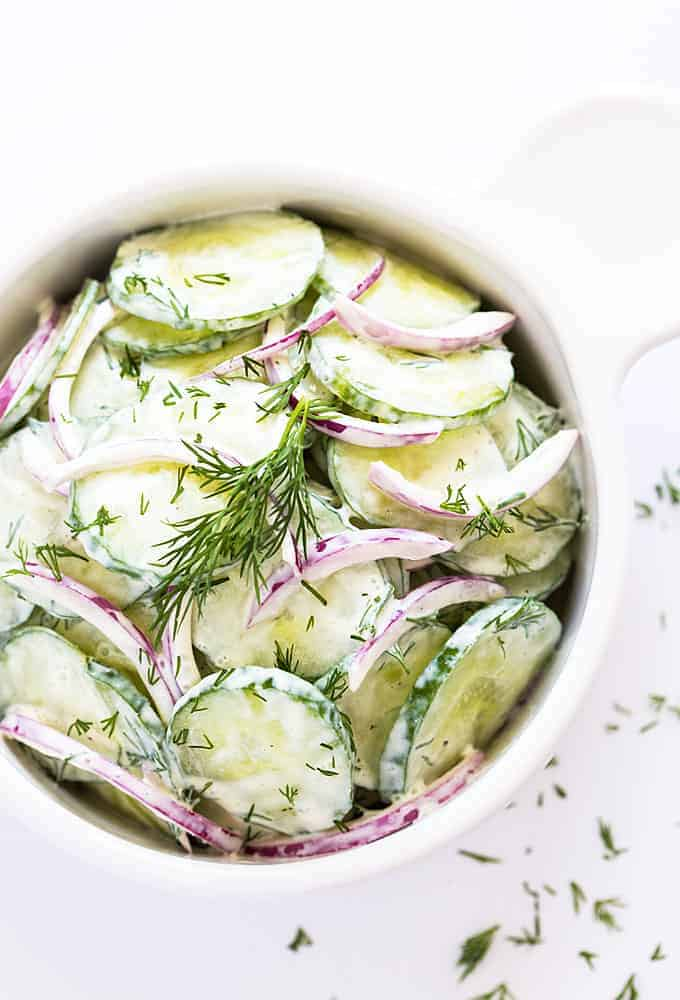 German Cucumber Salad - Crunchy cucumbers in a creamy, tangy sour cream mixture.