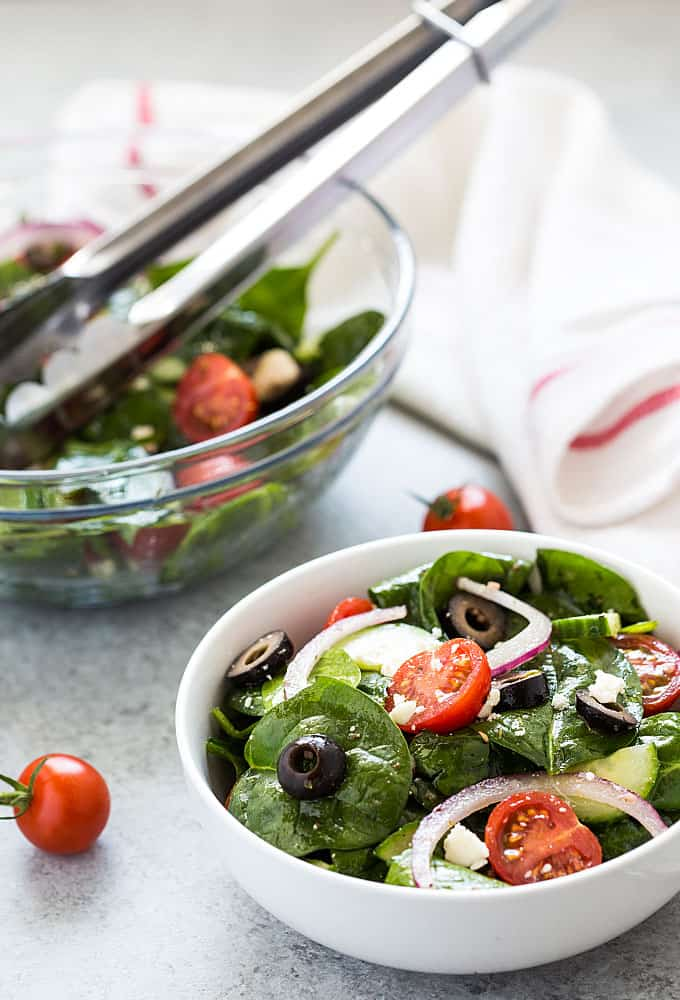 Mediterranean Salad – This salad is chock full of healthy veggies with a homemade dressing that comes together in just 10 minutes!