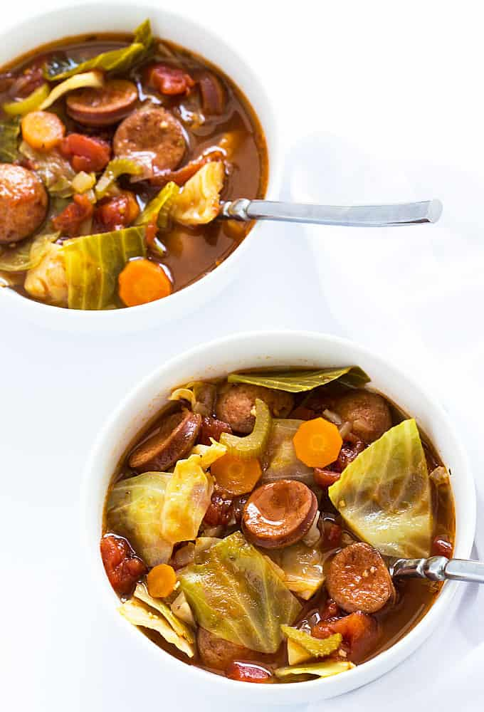 Smoked Sausage and Cabbage Soup - So hearty and full of smoked sausage and healthy veggies!