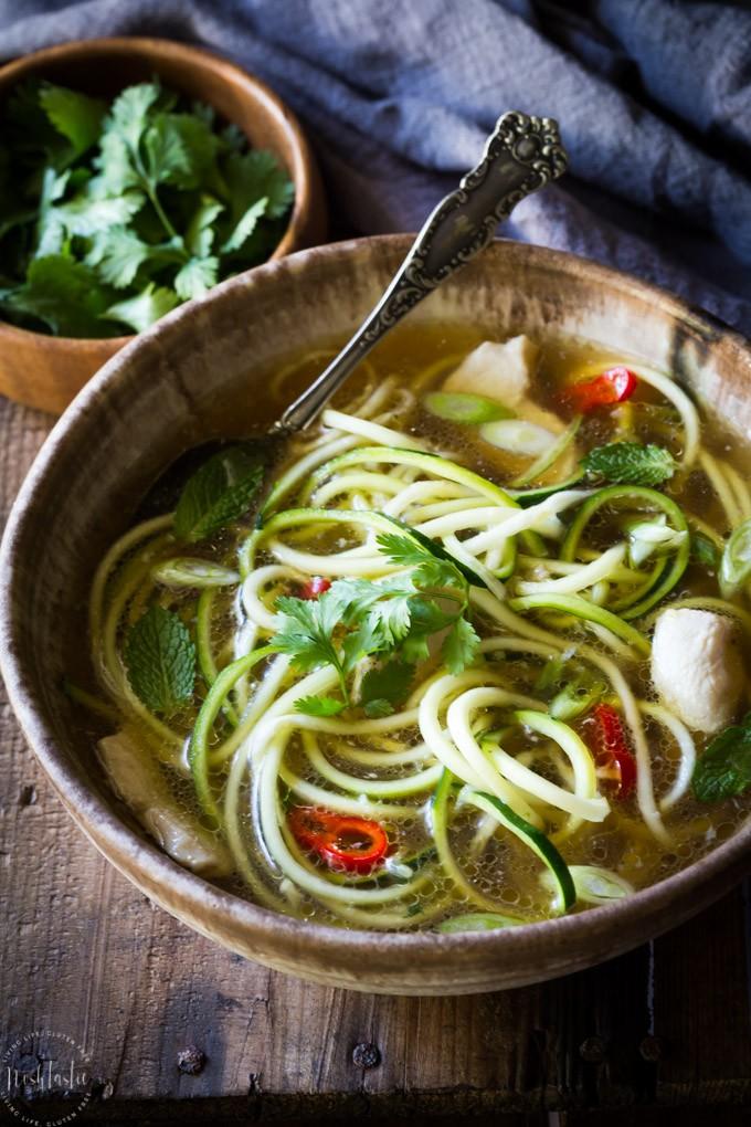 20 Minute Paleo Chicken Noodle Soup | Noshtastic