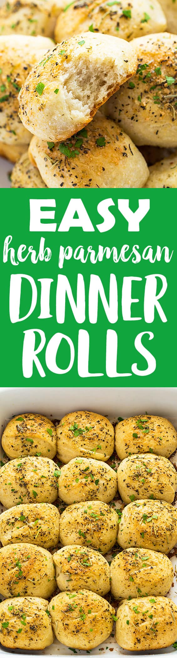 Easy Herb Parmesan Dinner Rolls - Light, fluffy and perfectly seasoned rolls with herbs and Parmesan cheese.