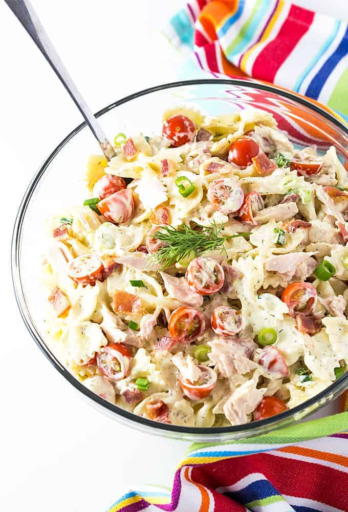 This hearty Tuna and Bacon Pasta Salad with a tangy dressing is packed with flavor!