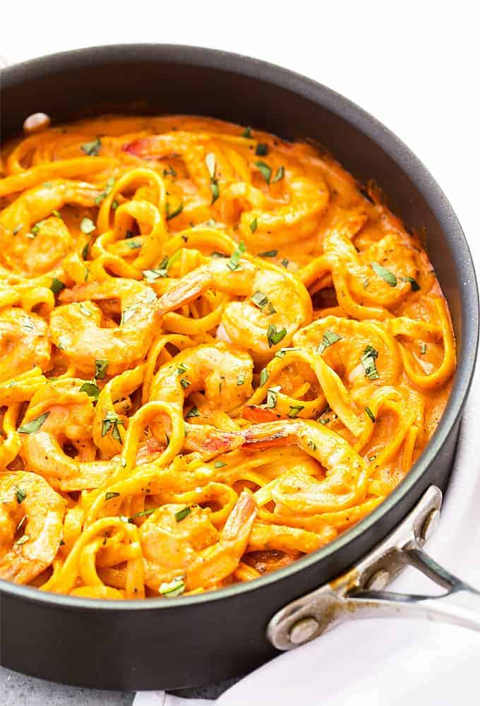 One Pan Shrimp and Pasta in Tomato Cream Sauce - Shrimp in a flavor-packed creamy tomato sauce that comes together in just 30 minutes!