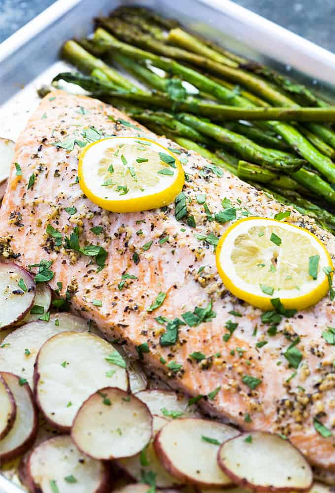 Sheet Pan Italian Roasted Salmon - A complete meal in one pan with minimal cleanup!