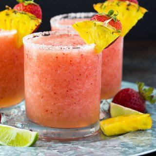 Frozen Pineapple Strawberry Margaritas