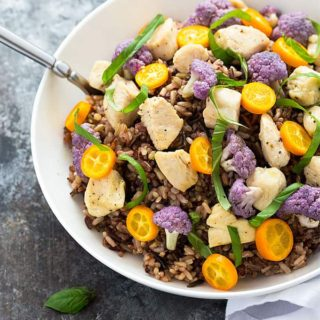 Sauteed Chicken and Purple Cauliflower Over Rice - Such a unique dinner, yet incredibly simple and quick!