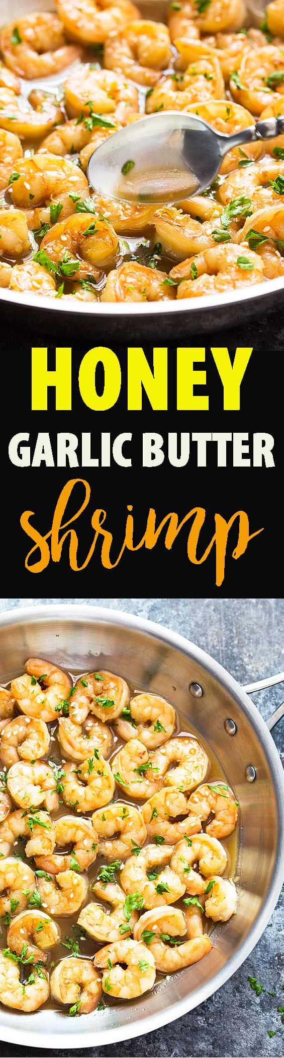 A two image vertical collage of honey garlic butter shrimp with overlay text in the center.
