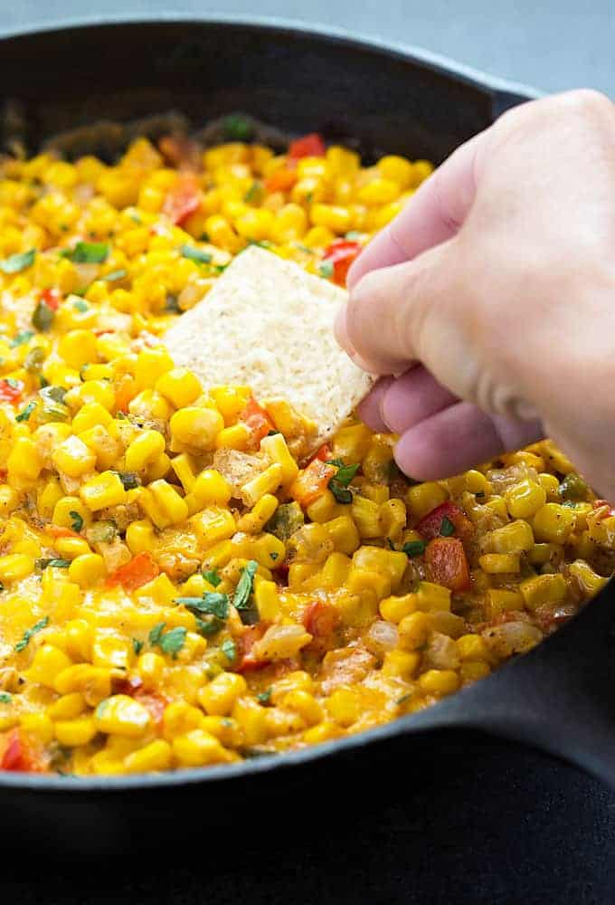 Hot Spicy Corn Dip - A creamy and cheesy dip with intense flavor!