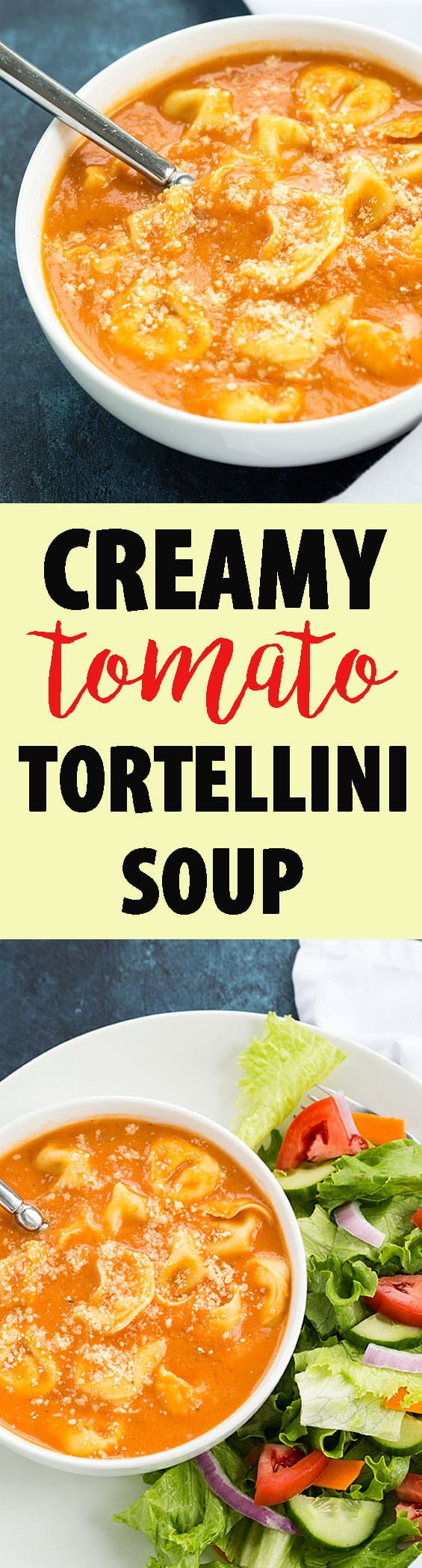 Creamy Tomato Tortellini Soup - Rich and creamy tomato soup full of cheesy tortellini.