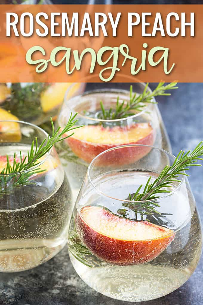 Front view of three glasses of white sangria with peach slices and rosemary.
