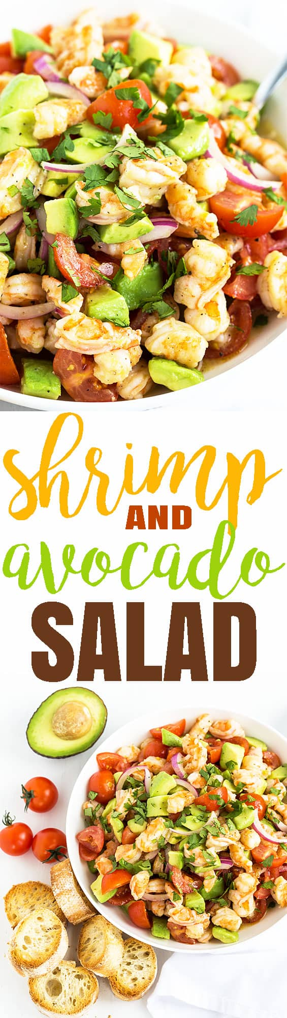 A two image vertical collage of shrimp and avocado salad with overlay text in the center.