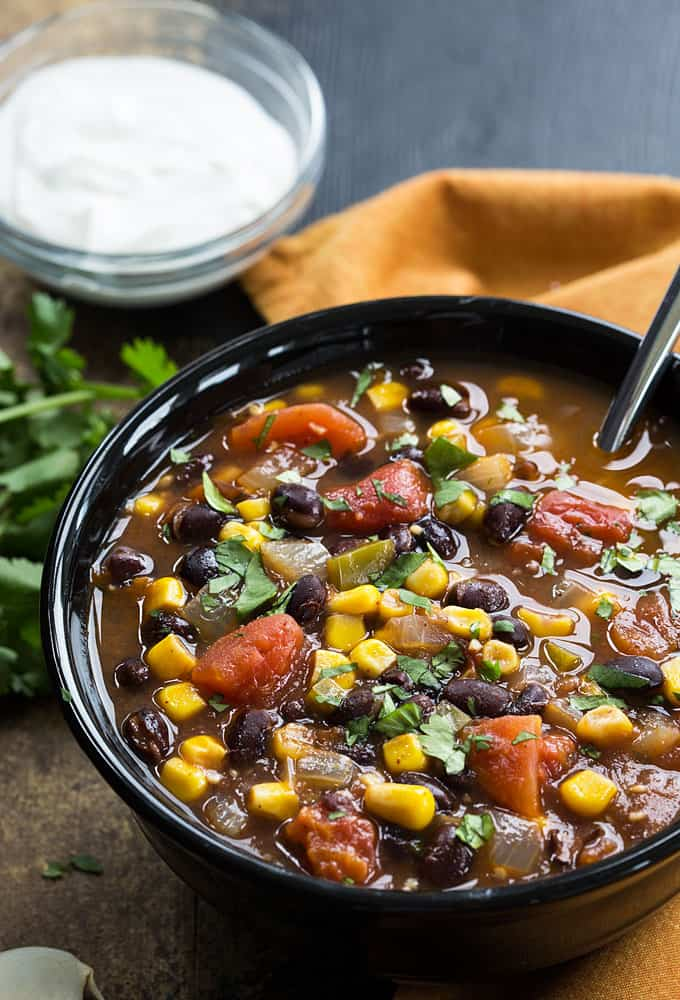 Black Bean, Corn and Tomato Soup - You'll never miss the meat in this hearty and satisfying vegetarian soup!