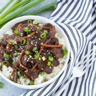 Slow Cooker Mongolian Beef - Easy and delicious restaurant-style Mongolian beef with minimal prep time!
