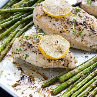 Baked Lemon Butter Chicken and Asparagus - An easy weeknight dinner packed full of flavor!
