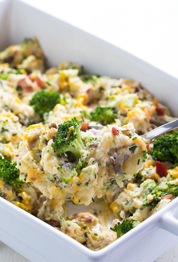 Broccoli Cheddar Potato Casserole - All the flavors of a twice-baked broccoli cheddar baked potato in a casserole!