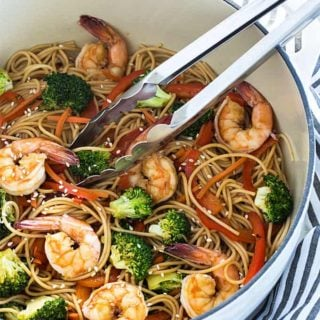 Shrimp and Broccoli Lo Mein - Skip the takeout and make this budget-friendly meal in less than 30 minutes
