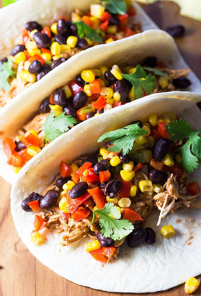 BBQ Chicken and Black Bean Tacos - Easy tacos packed full of flavor and on the table in less than 30 minutes!