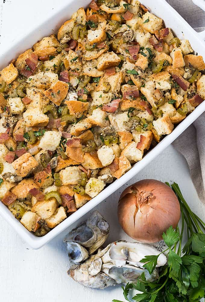 Oyster Stuffing - A hearty Thanksgiving side dish full of herbs, bacon and oysters.