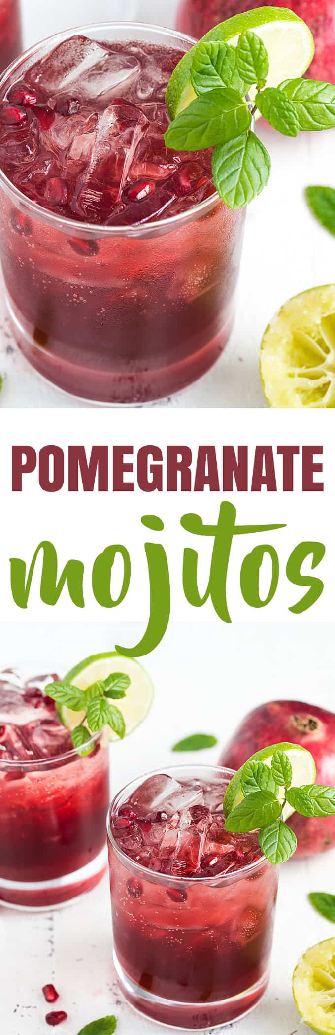 Pomegranate Mojitos - An easy, fun and refreshing festive holiday cocktail!