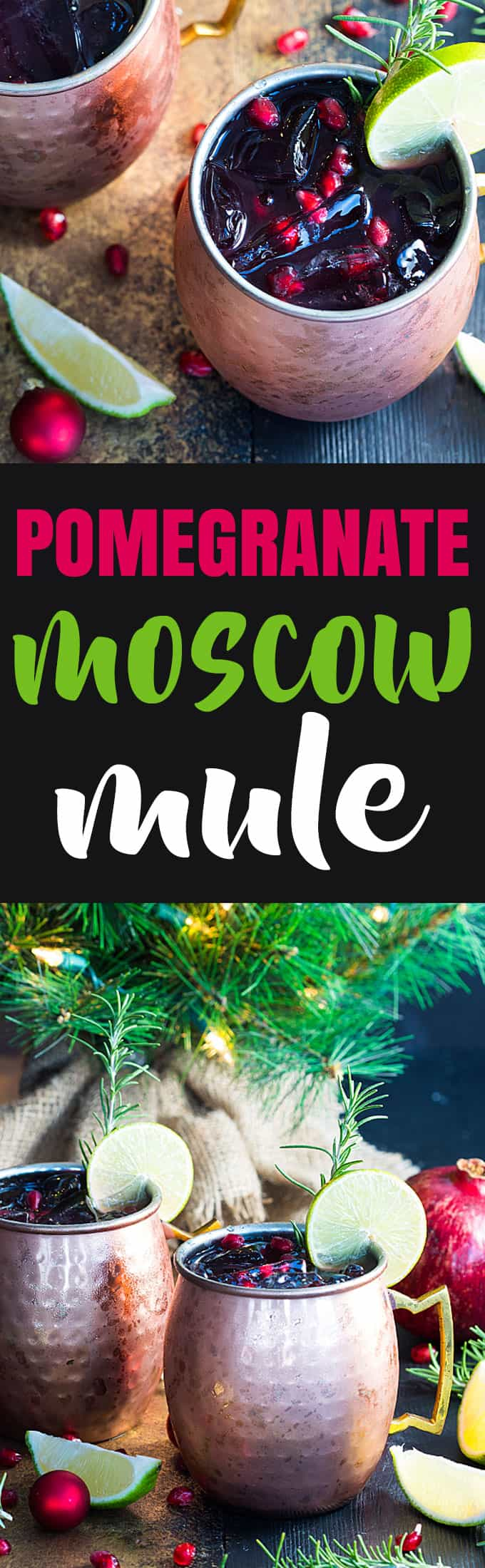 A two image vertical collage of pomegranate moscow mules with overlay text in the center.