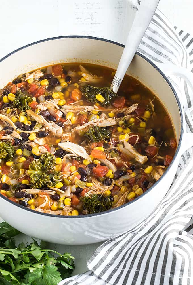Southwestern chicken soup with vegetables and beans in a white dutch oven.