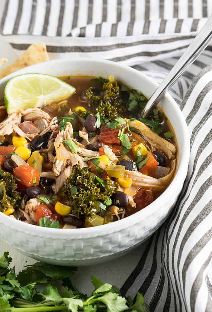 Chicken and black bean soup with vegetables in a white bowl.