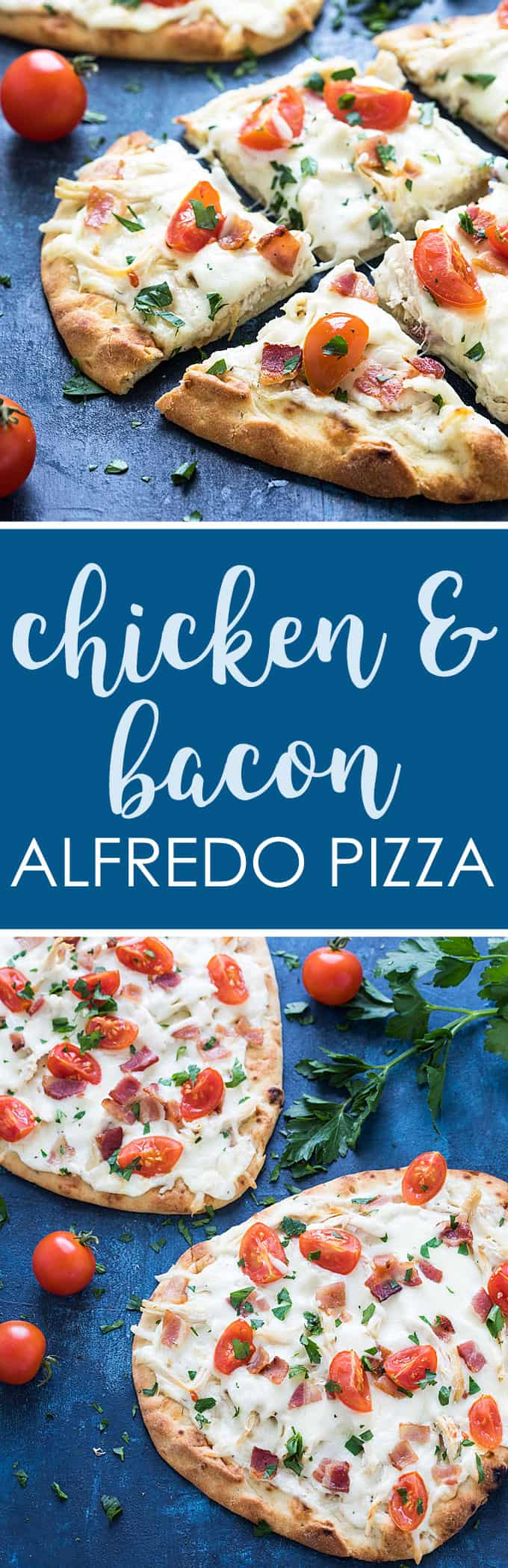 Chicken Bacon Alfredo Pizza - With a few shortcuts this savory pizza comes together in just 15 minutes. Pizza night has never been easier!