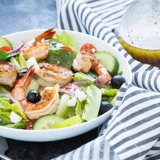 Greek Salad with Blackened Shrimp and a homemade Greek dressing... a light and refreshing dinner for any night of the week!