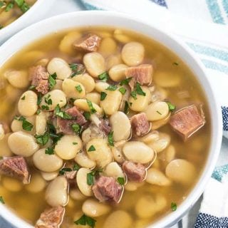 Instant Pot Lima Beans and Ham is so easy to prepare in your pressure cooker - Tastes like it slow cooked all day in a fraction of the time!